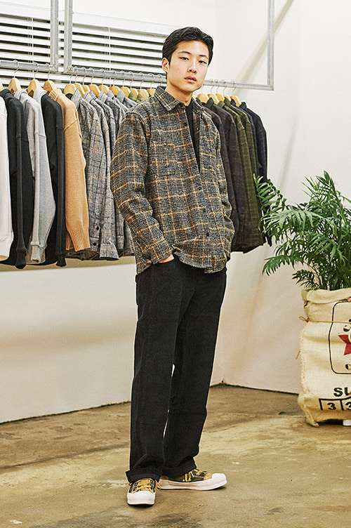 Hound Tooth Check Shirts [Black]