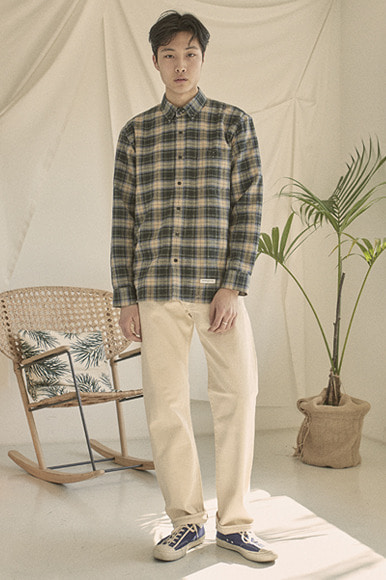 Easy PK Check Shirts [Khaki]