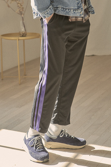 Double Tape Track Pants [Black/Violet]