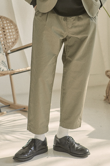 Cotton Slub Set Up Pants [Khaki]