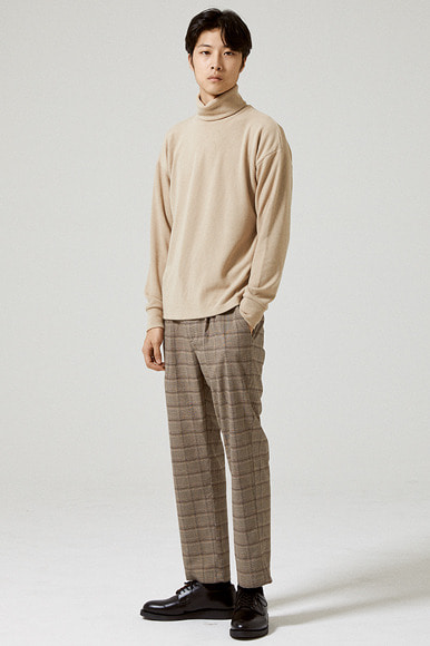 Tencel Turtleneck T-Shirts [Beige]